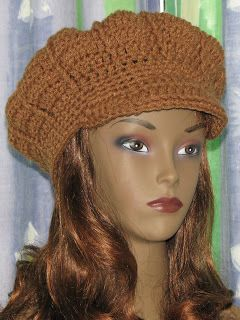 Free Adult size Crochet Newsboy Hat Pattern