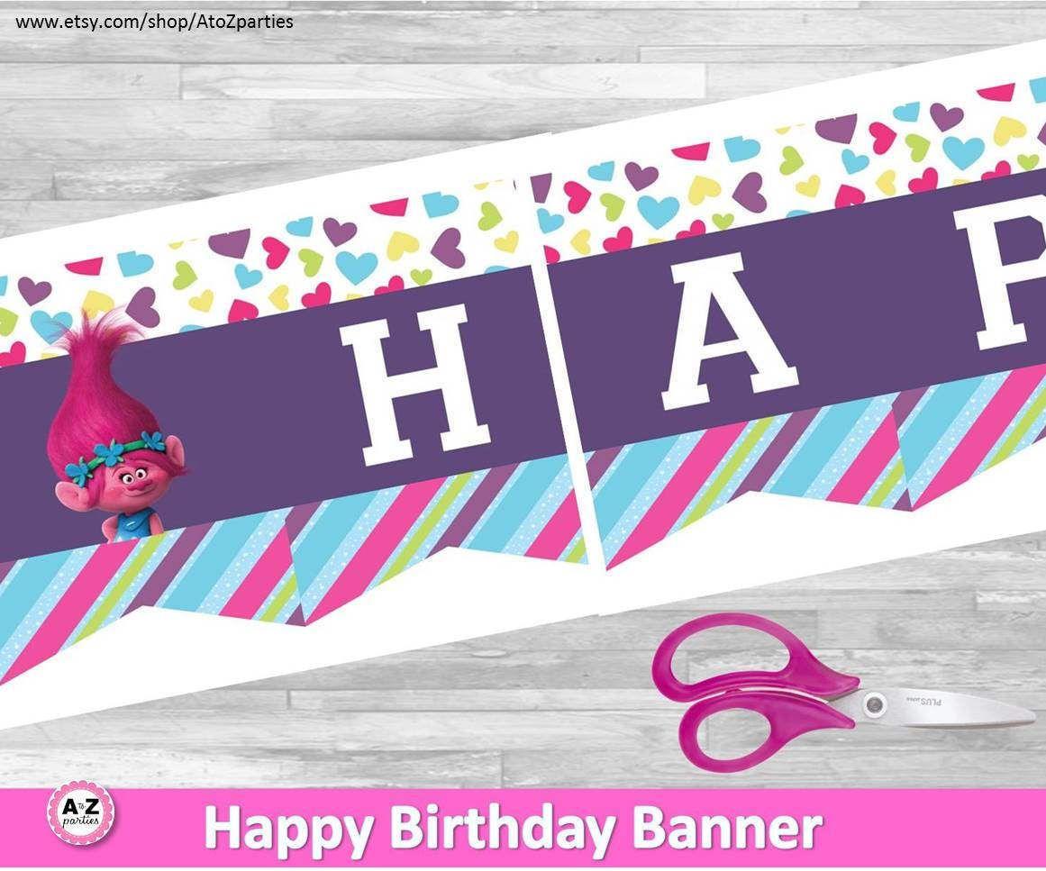 troll banner happy birthday banner party decoations trolls