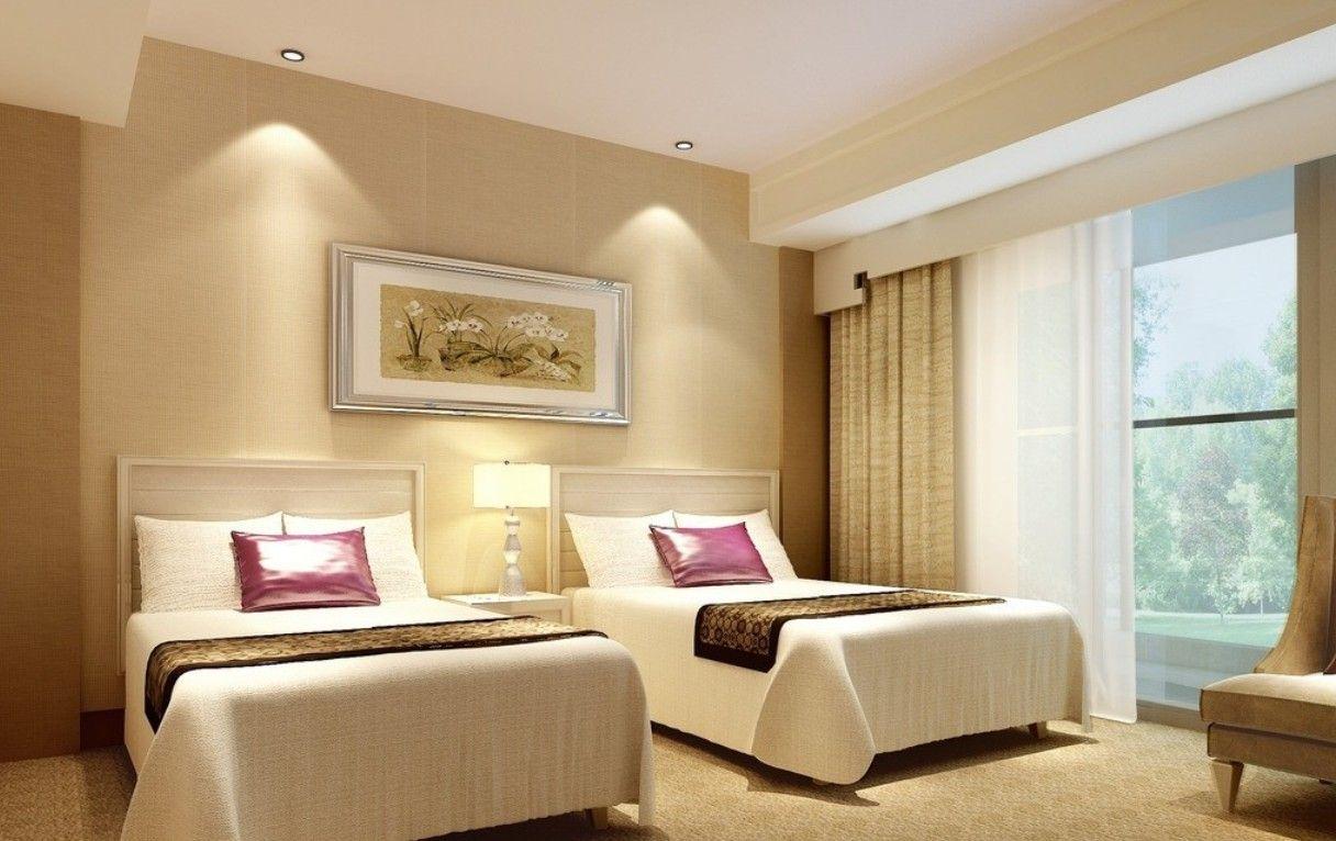 Yellow Bedroom And Living Room Design Night Rendering