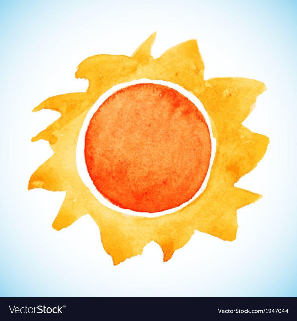 Watercolor Sun Royalty Free Vector Image Vectorstock