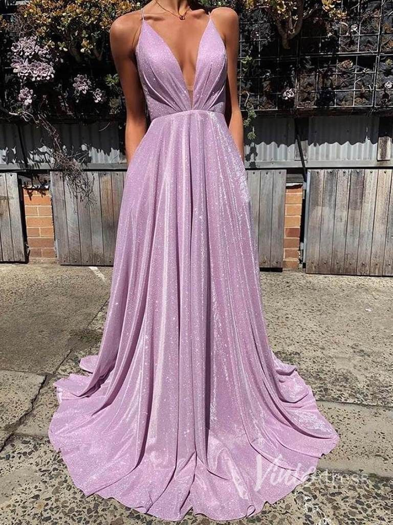 Sparkling Pink Prom Dresses with Pockets Formal Dress FD9 in