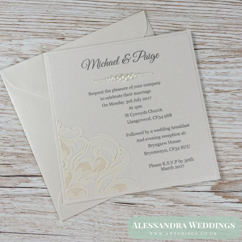 Lace and Pearls Wedding Invitation - Wedding Invite Handmade ...
