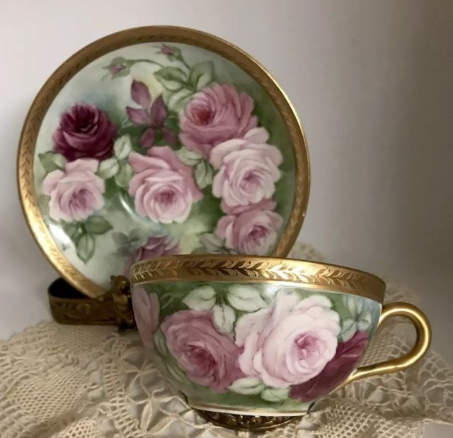 Details about RARE LIMOGES HAND PAINTED RAISED GOLD ROSES ON COBALT