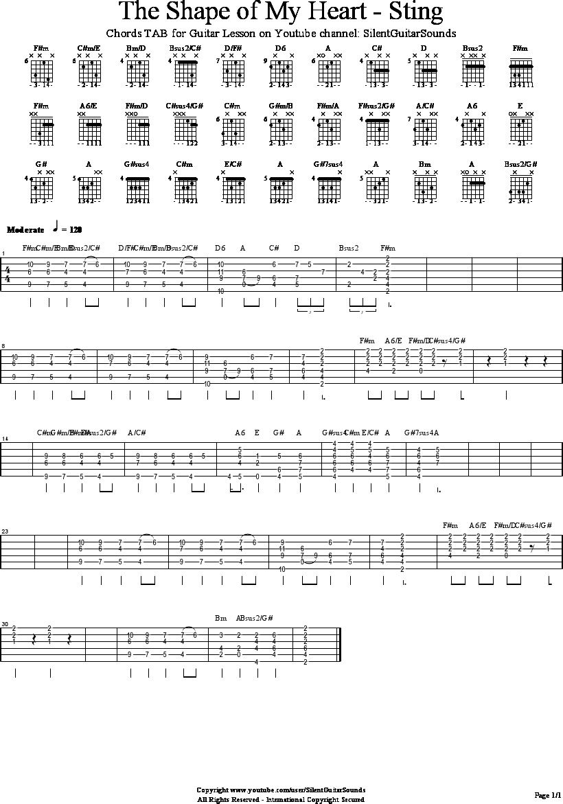 Shape Of My Heart Sting Tab Chords For Silentguitarsounds Youtube