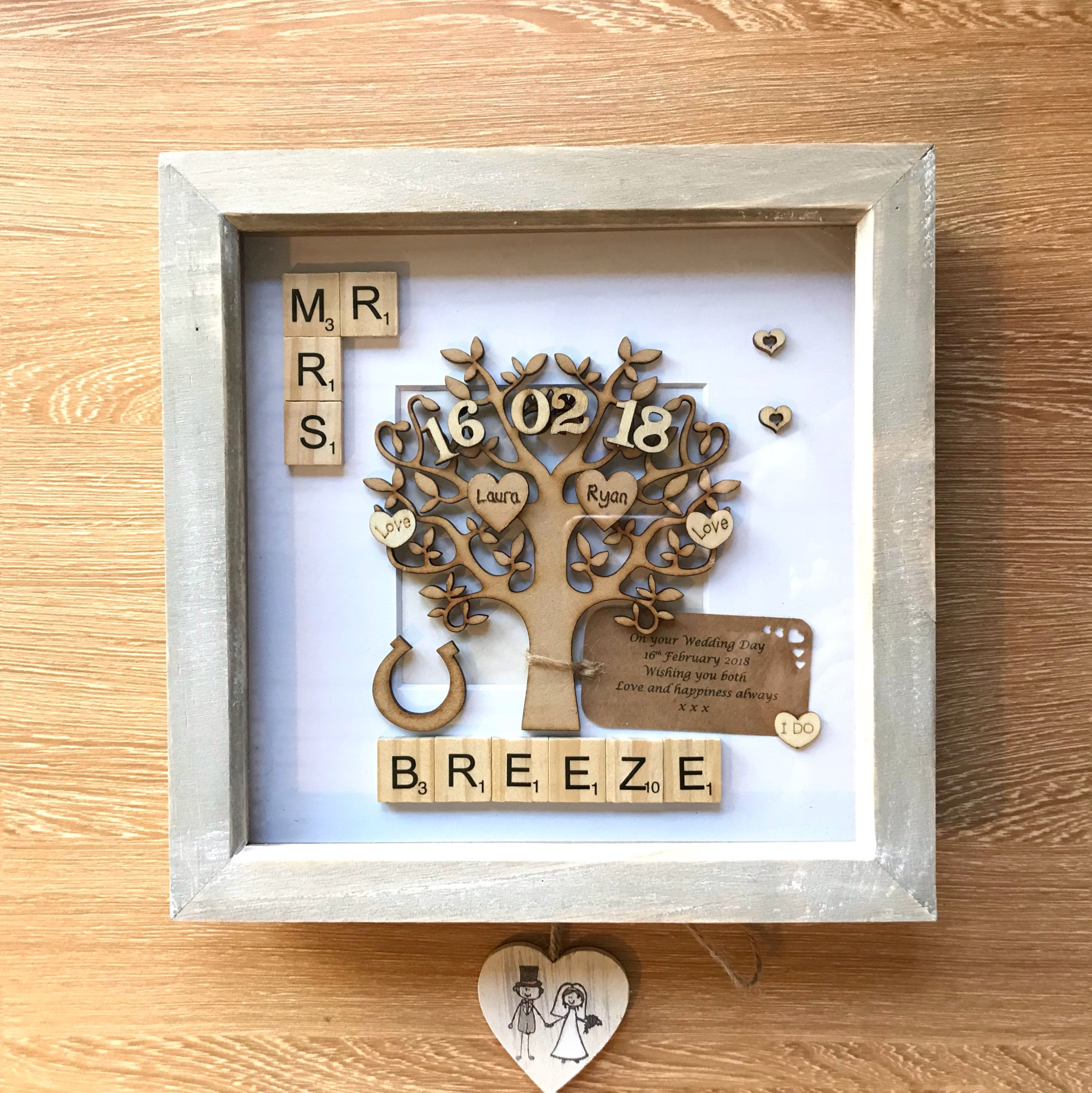 Wedding Gift Unique Wedding Gift For Couples Rustic Frame Engraved Names Mr Mrs Wedding Anni Wedding Gifts Unique Wedding Gifts Wedding Gifts For Couples