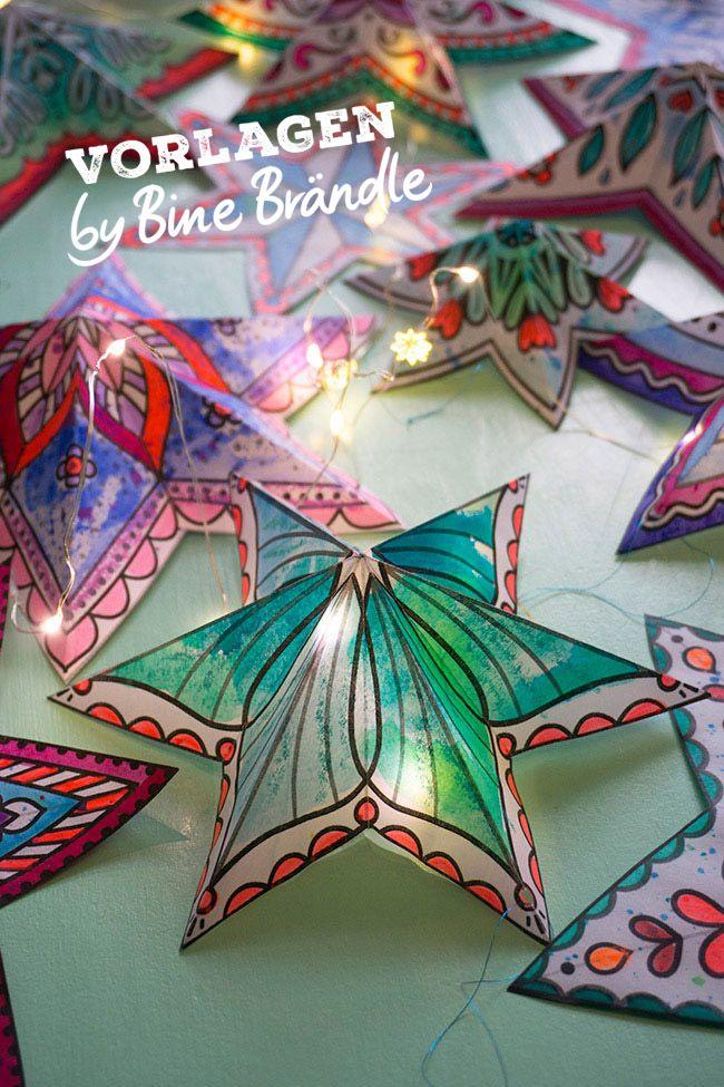 Sterne zum Ausmalen Blumen basteln aus papier Basteln