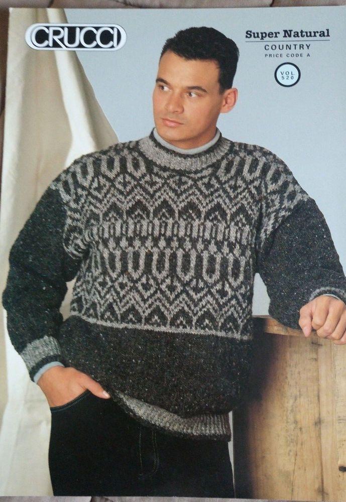 Men's Fairisle Sweater knitting pattern 4 styles chunky yarn ...
