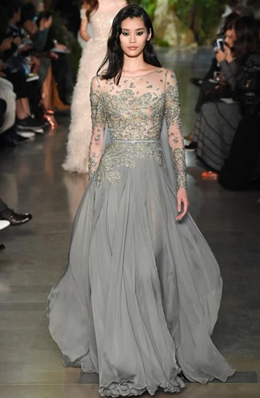 Prepare The Off Shoulder Prom Dresses For Upcoming Then You Need To See 2017 Elie Saab Illusion Sheer Formal Evening Gowns Spring