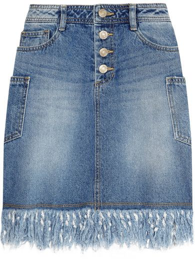 8fc09336af5 Steve J   Yoni P - Frayed Denim Mini Skirt - Mid denim