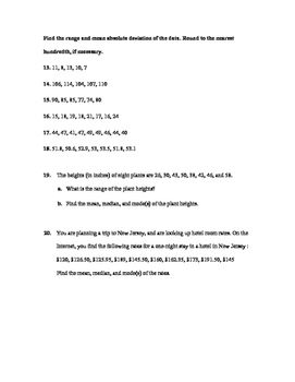 "Use Measures of Central Tendency and Dispersion"" Test (PARCC ..."