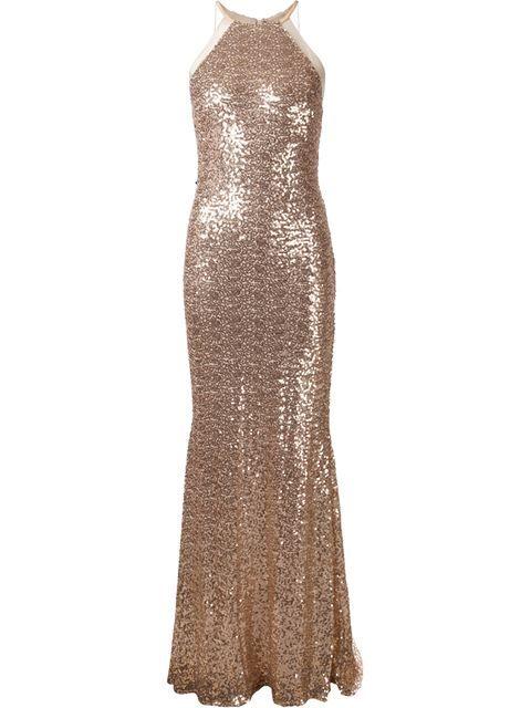 Shop Badgley Mischka halter-neck sequins gown in Tootsies from the ...