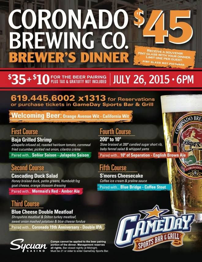 7-26-15  Coronado Brewing Co. Brewer's Dinner