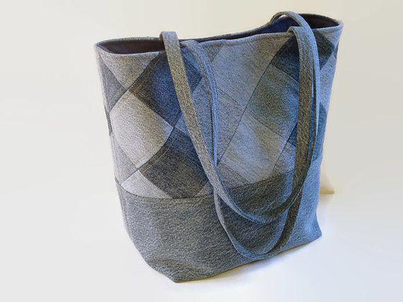 large jean tote bag denim patchwork purse blue jean handbag upcycled recycled repurposed. Black Bedroom Furniture Sets. Home Design Ideas