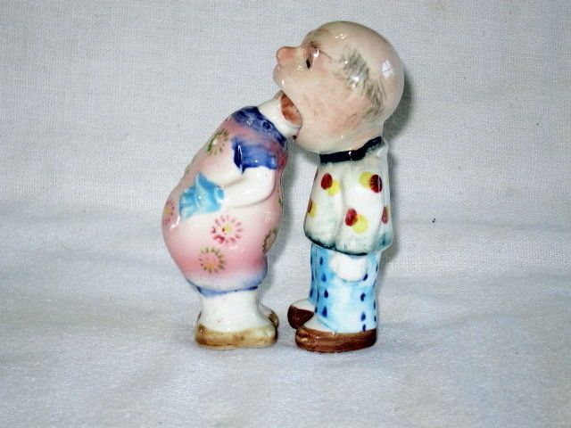 Vintage Rare Comical Couple Salt Pepper Shakers Japan Salt