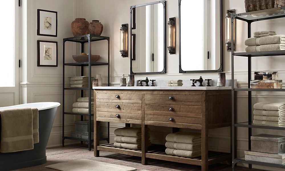 Printmakers Double Vanity Sink Restoration Hardware