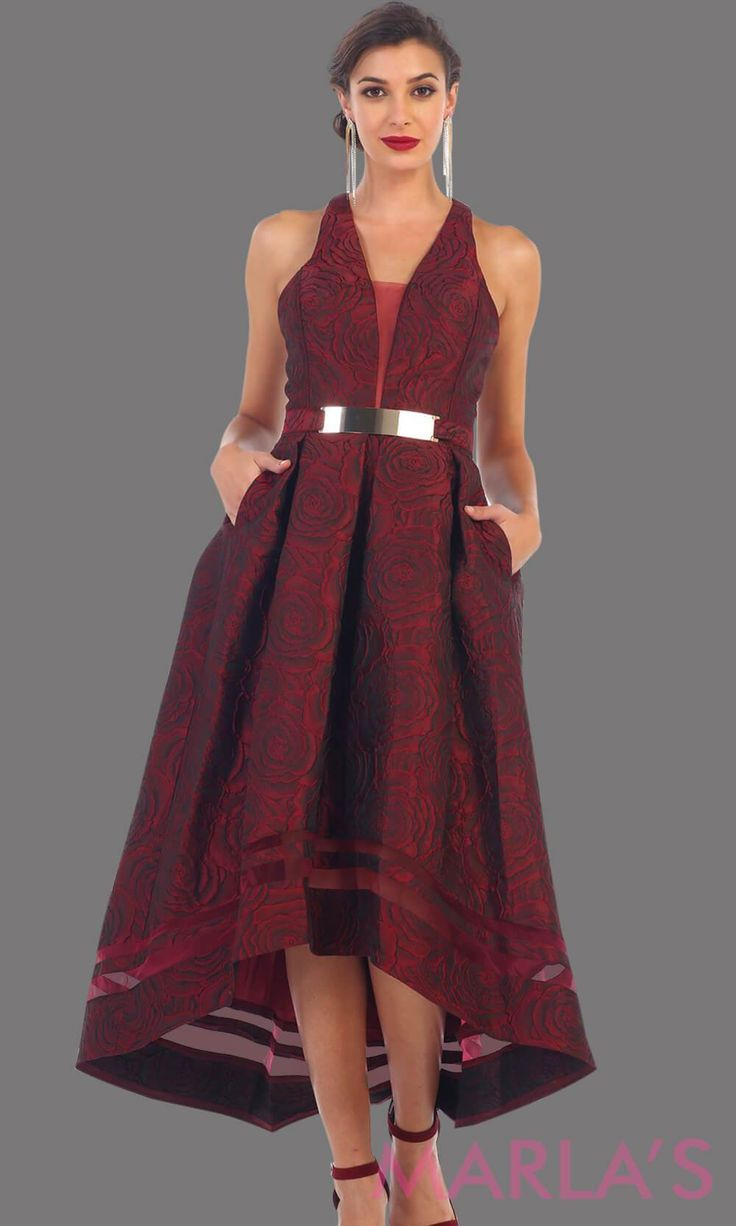 a9f0cedc2479 7474-High low burgundy dress with gold belt. This is a beautiful halter  grade 8 grad dress, high lo dark red prom dress, wedding guest dress, sweet  16, ...