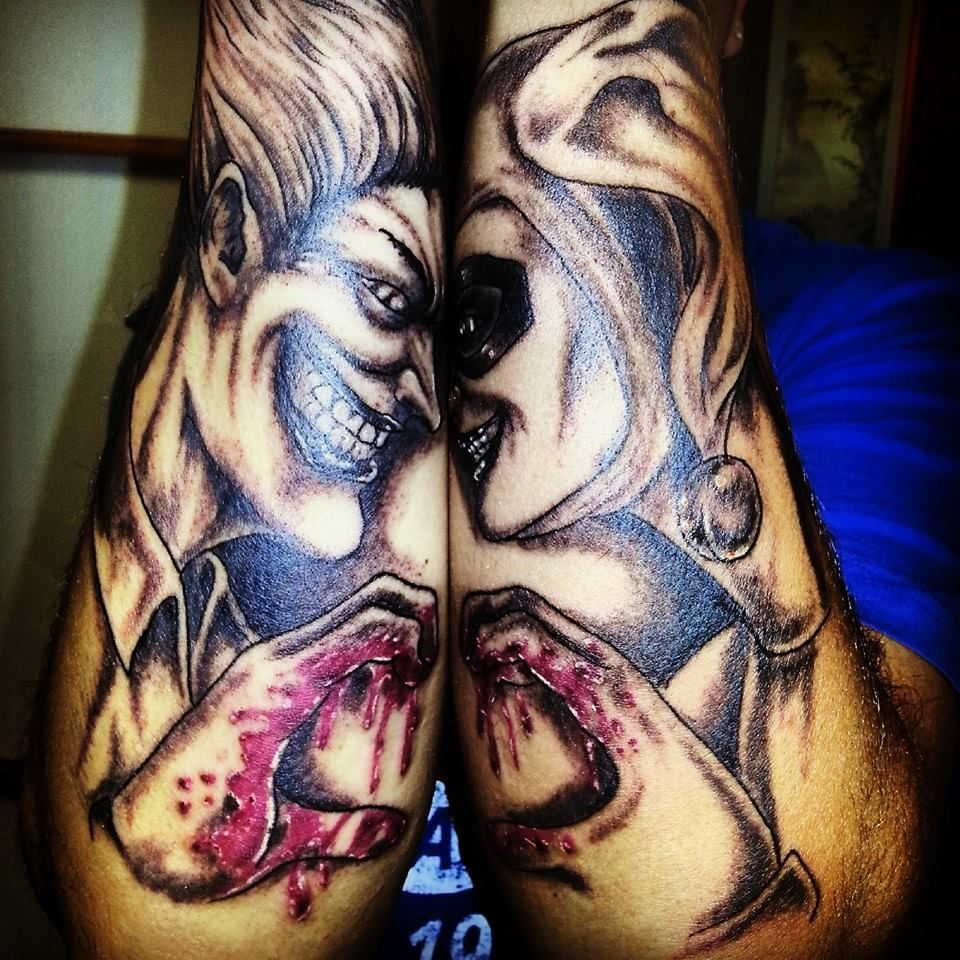 The Joker and Harley Quinn Tattoo. Would be a cool couple tattoo