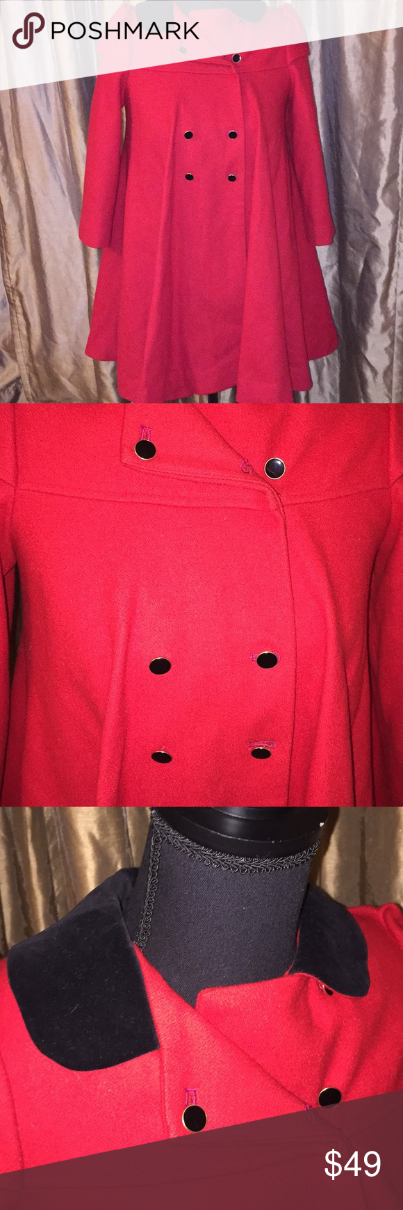 b6a2a79d492 Young gallery girls 6x wool pea coat Young gallery Size 6x Gorgeous girls  red wool pea coat Excellent condition Very stunning on young gallery Jackets  ...
