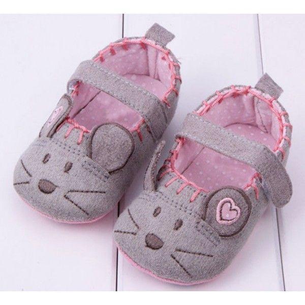e4e293954f045b Sapatilha de Bebê Menina Rosa e Cinza   Shoes   Sapatos de bebê ...