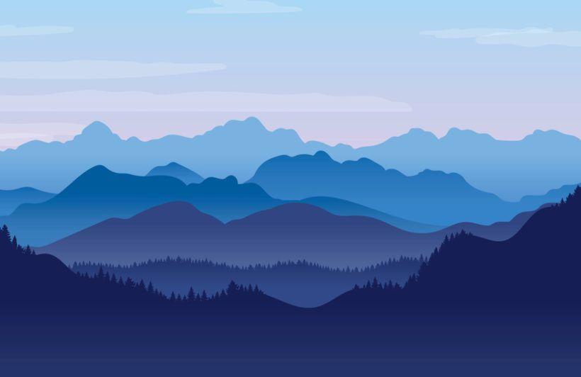 Blue Illustrated Landscape Wallpaper Mural Muralswallpaper Landscape Wallpaper Mountain Mural Mural