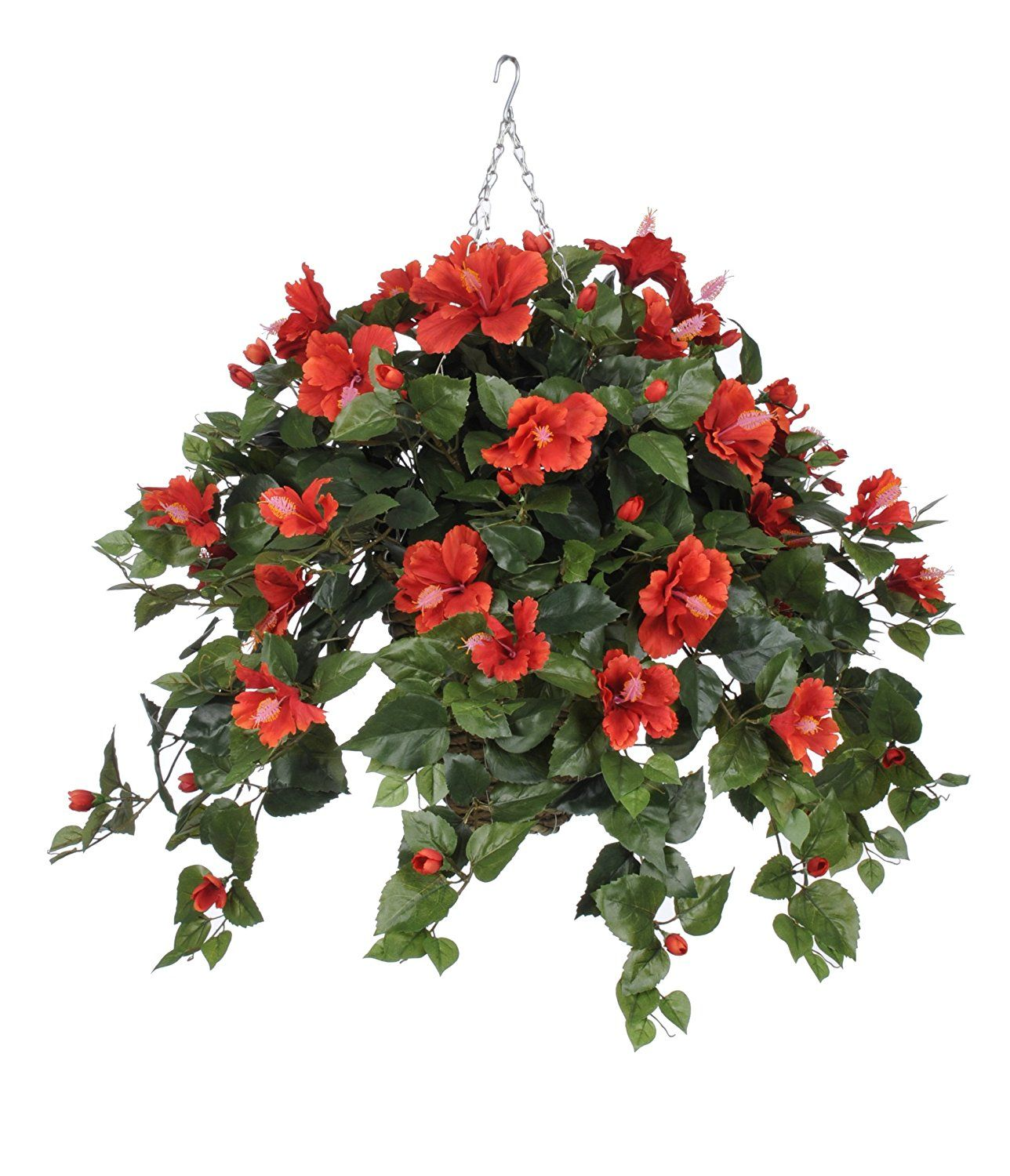 Artificial Hibiscus Hanging Plant in Square Basket Flower Color: Red ...