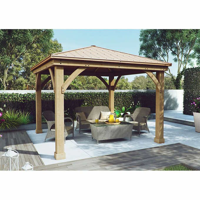 Yardistry Wood Gazebo 12 ft x 12 ft with Aluminum Roof ... on Yardistry Backyard Pavilion id=36577