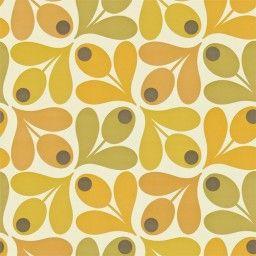 Behang Orla Kiely - Multi Acorn Spot - safraan