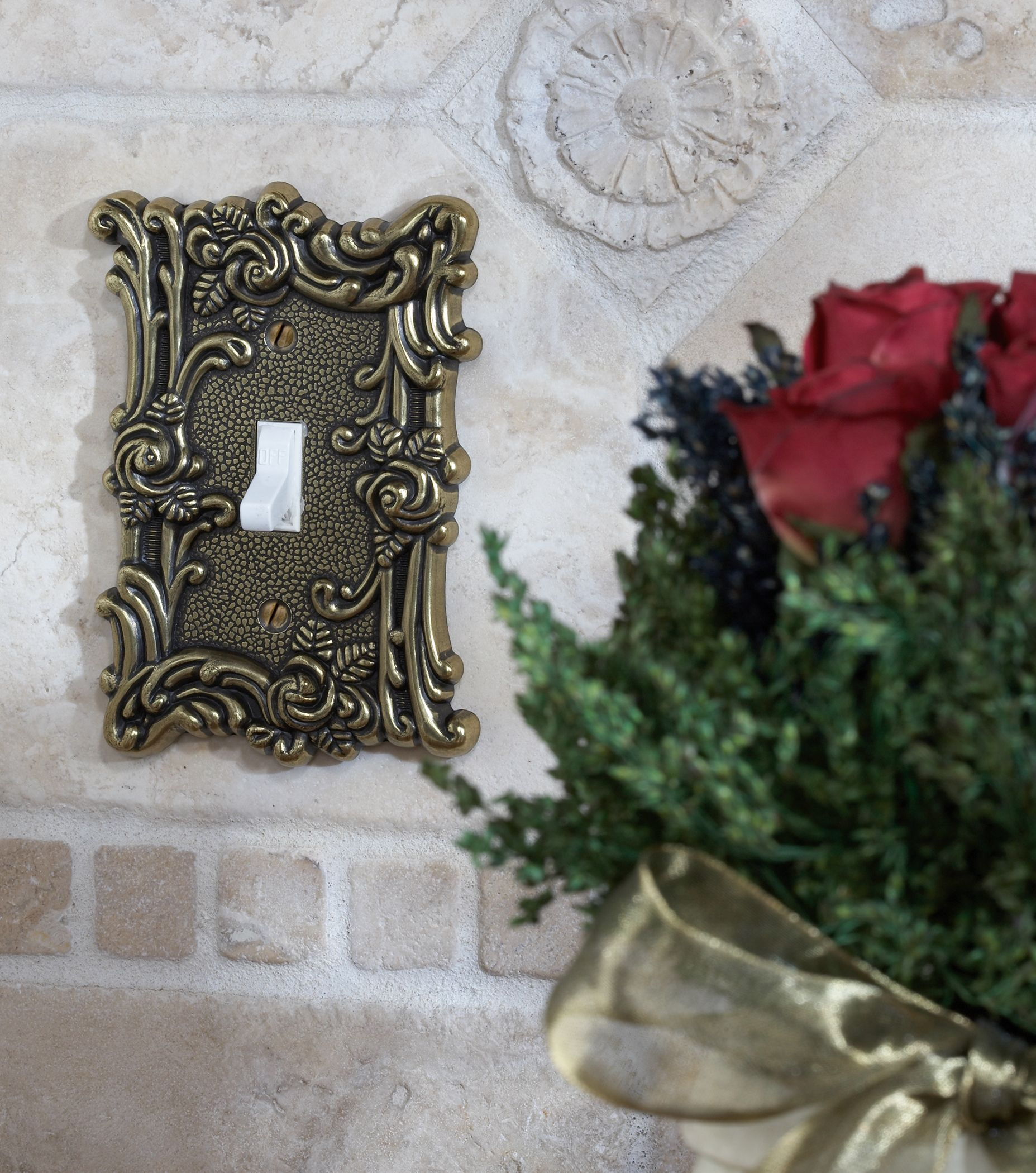 provincial 1 toggle wall plate antique brass