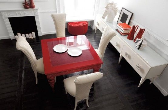 Red Dining Rooms Room Furniture Sets Elegant Modern Design Chairs Cheap