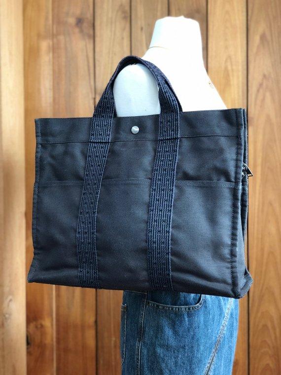 Authentic XL Vintage HERMES H Monogram Logos Her Line PM Hand Tote Bag  Handbag Shoulder Purse f0c1f08615f92