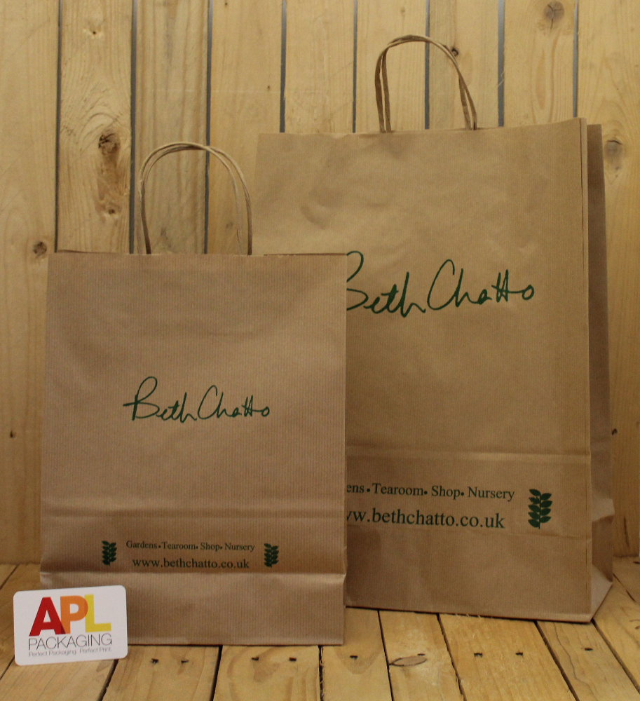 A Natural Brown Paper Bag Printed With Green Is Perfect For Those Who Want Look