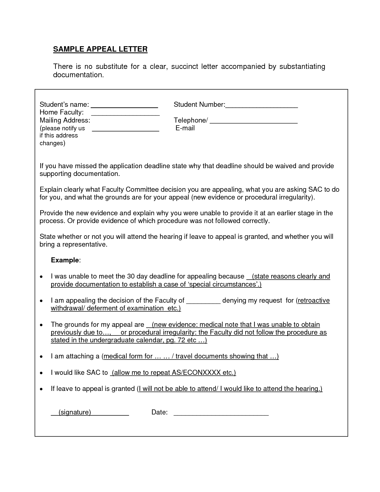 appeal letter sample for medical necessity 10 academic probation – Example of Appeal Letter