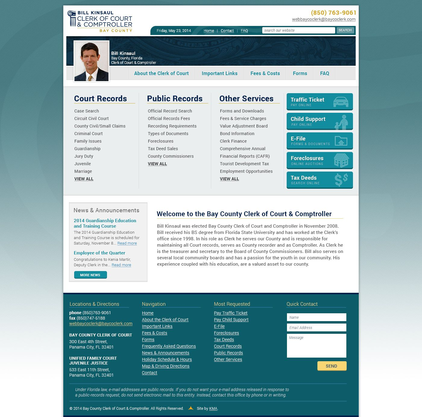 Bay County Clerk of Court | Websites | Design development, Design