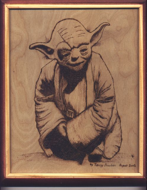 Yoda Hand Pyrographed Picture On Birch Plywood Wood Burning Art Wood Burning Art Star Wars Crafts Wood Burning Crafts