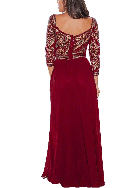 Leshuo womens long sleeve v neck backless lace long bridesmaid