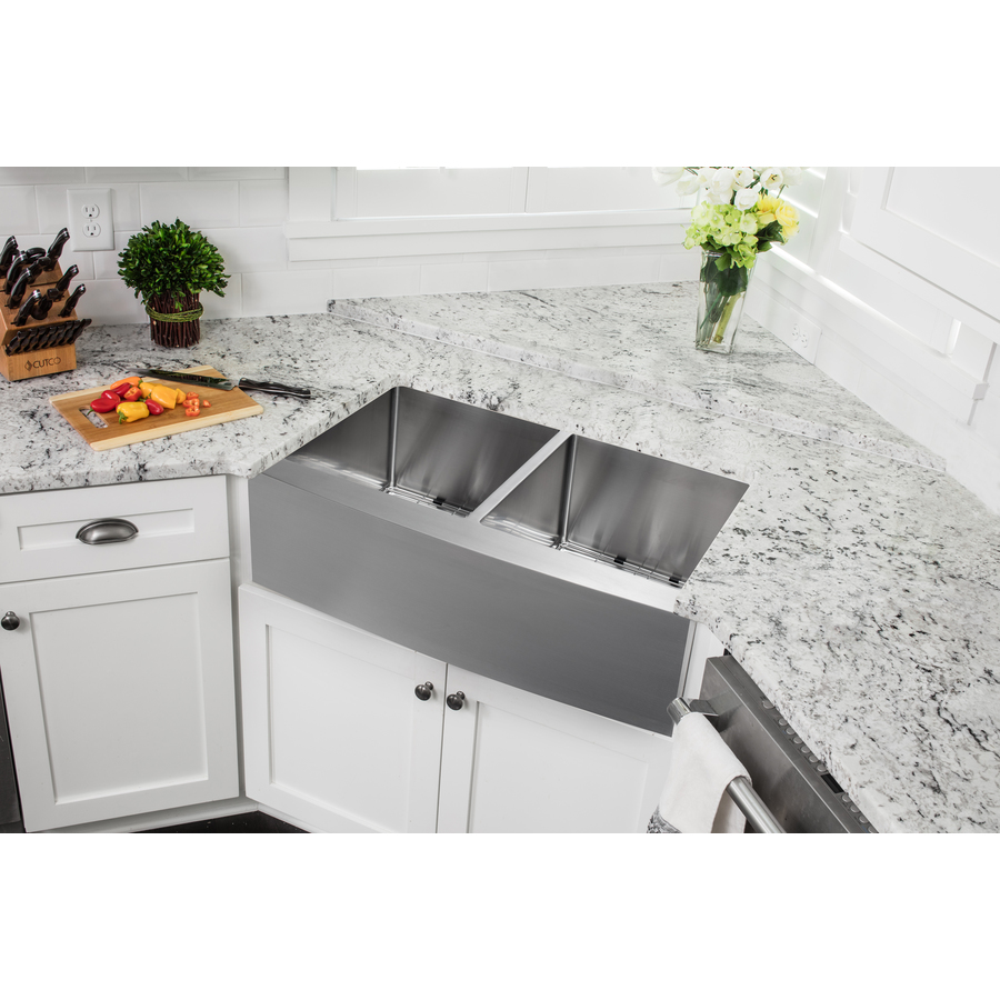 Superior Sinks 32 875 In X 20 75 In Brushed Satin Double Basin