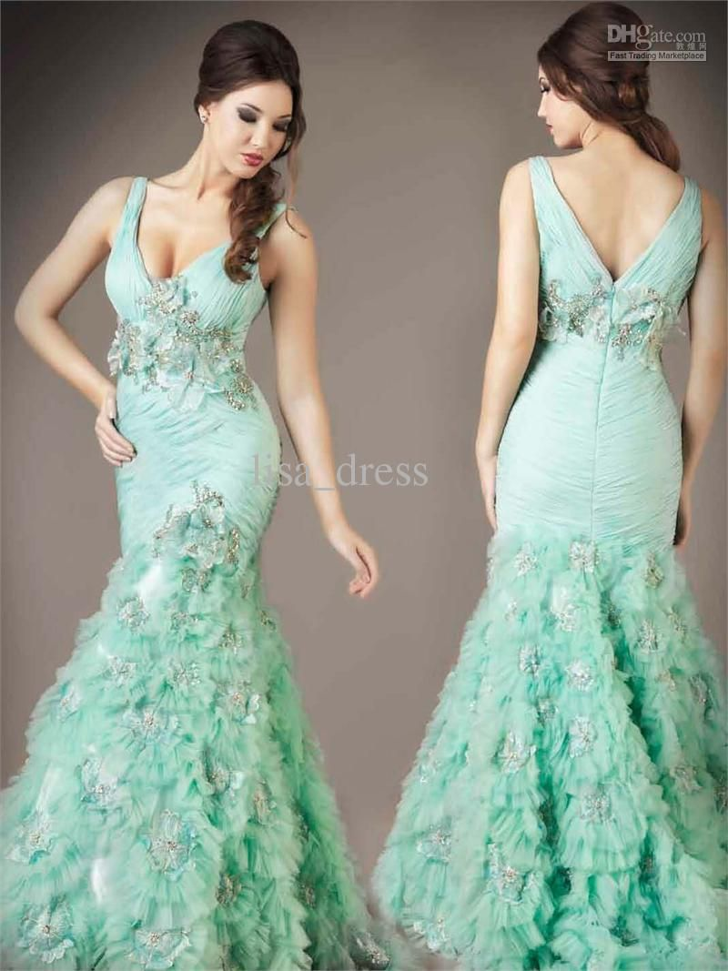 Sexy mermaid tulle evening dresses mint green prom dresses party