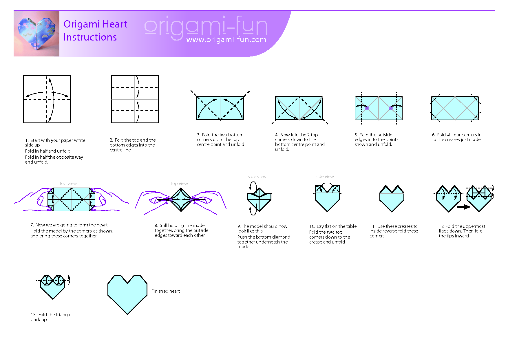 3d origami heart folding instructions | askervani.com ... - photo#12