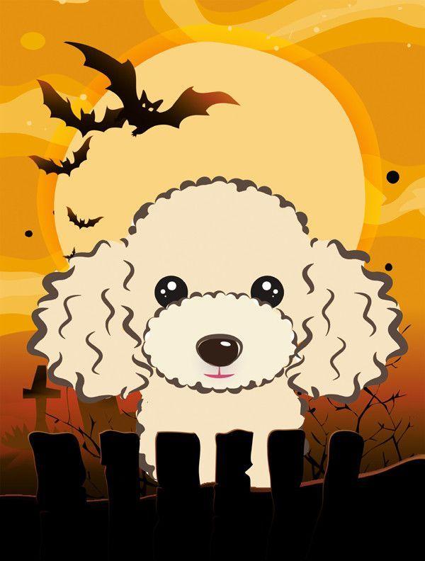Halloween Spook Buff Poodle Vertical Flag