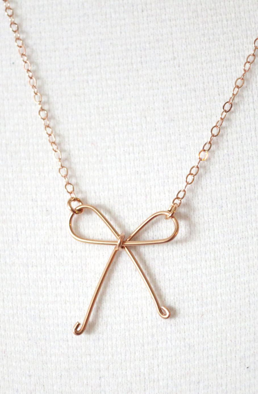 Tie the Knot - Rose Gold Filled Necklace, Hand wired knot ...