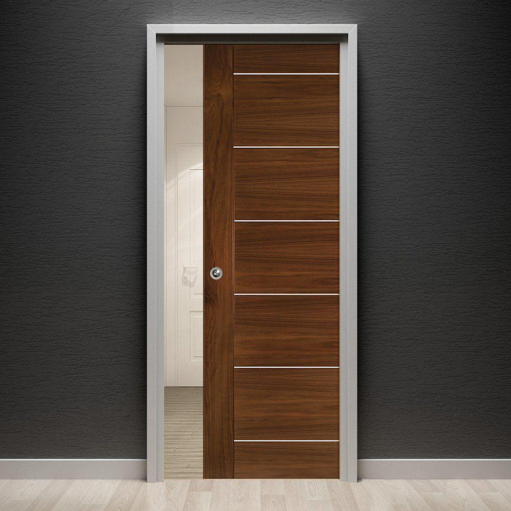 Valencia Walnut Evokit Pocket Fire Door 1 2 Hour Fire Rated Prefinished Walnut Doors Door Fittings Flush Doors