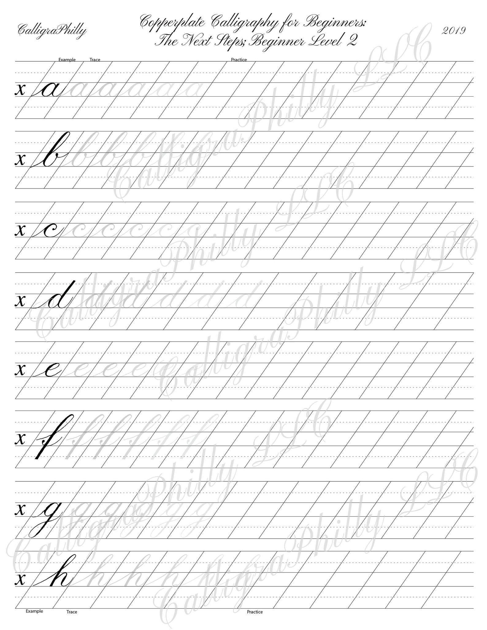 Beginner Level 2 Copperplate Lowercase Calligraphy