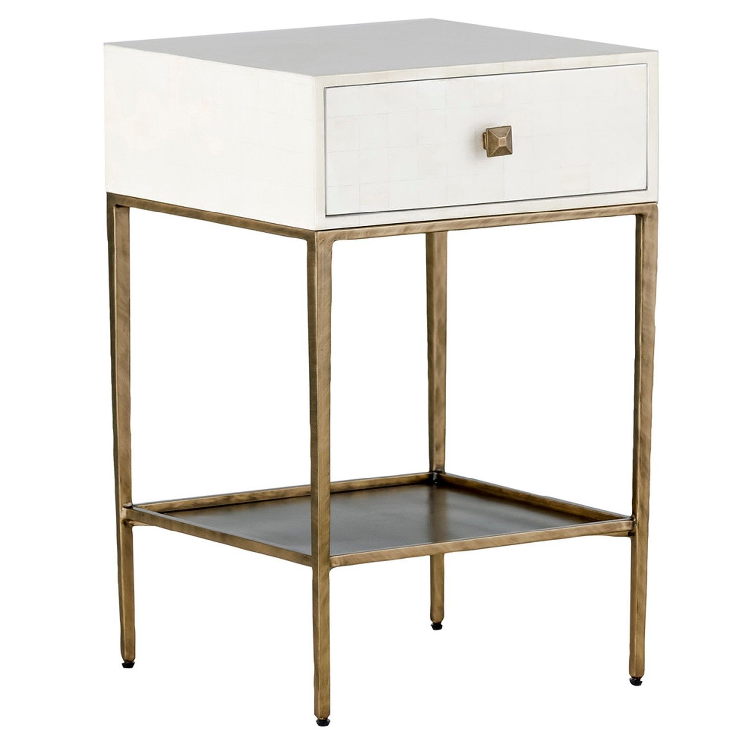The Gabby May Gold And White Nightstand Has A Drawer Clad In Faux Bone Resin Atop Minimalist Brushed Br Finished Metal Frame