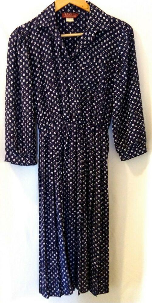366439757 Lisa II Women s Vintage Secretary Dress Sz 10 Navy 3 4 Sleeve Pleated  Modest