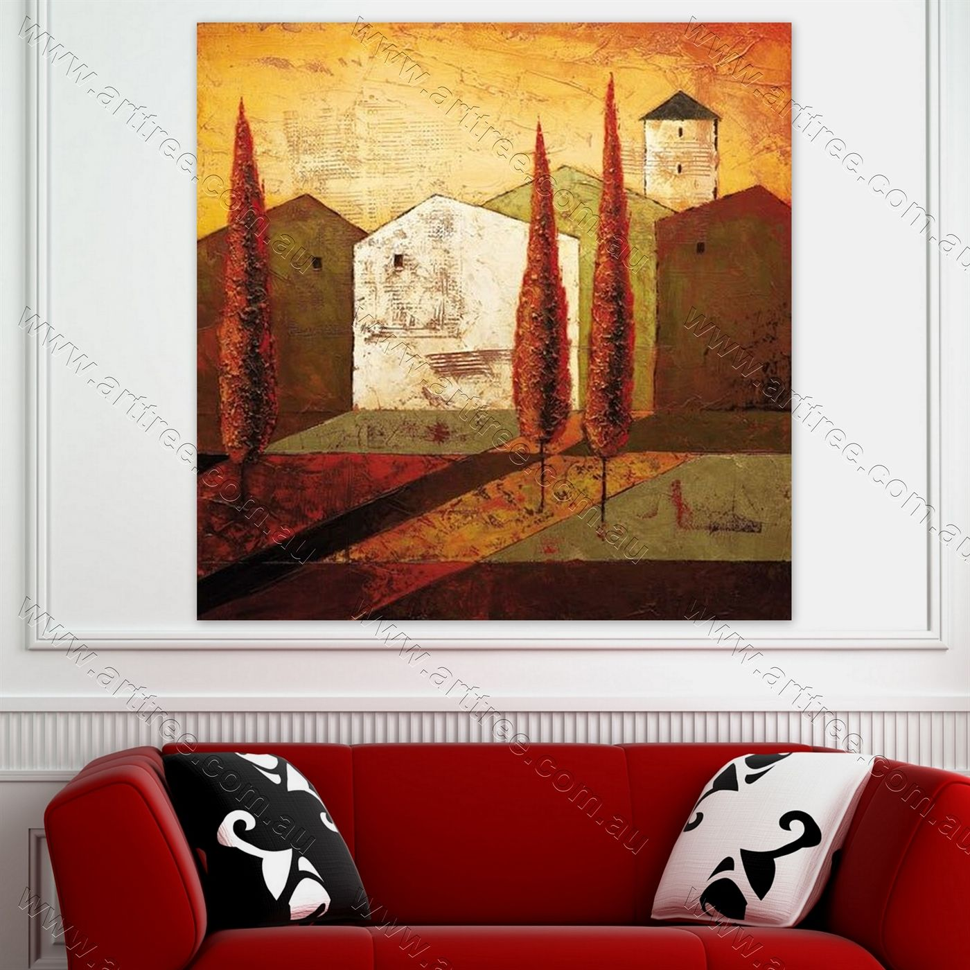 Long Tree Abstract Artwork For Home Office Decor