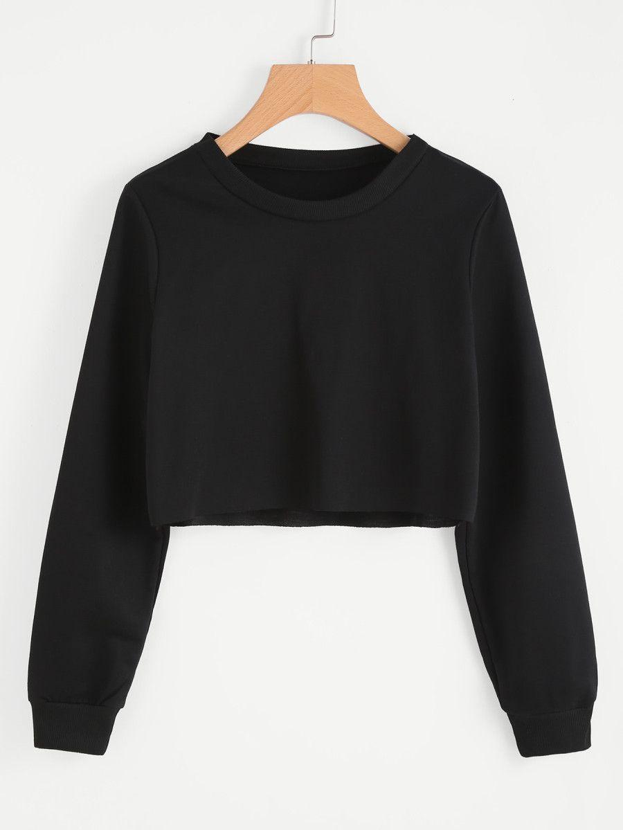 b8b26c5b10b Basic Pullover Crop Sweatshirt -SheIn(Sheinside)