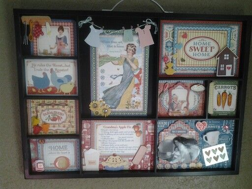 """My memory tray I made using the new Graphic 45 """"Home Sweet Home"""" collection. I added some embellishments I had in my stash. I love anything Vintage...the photo I added was me & my mom baking back inthe 60's."""