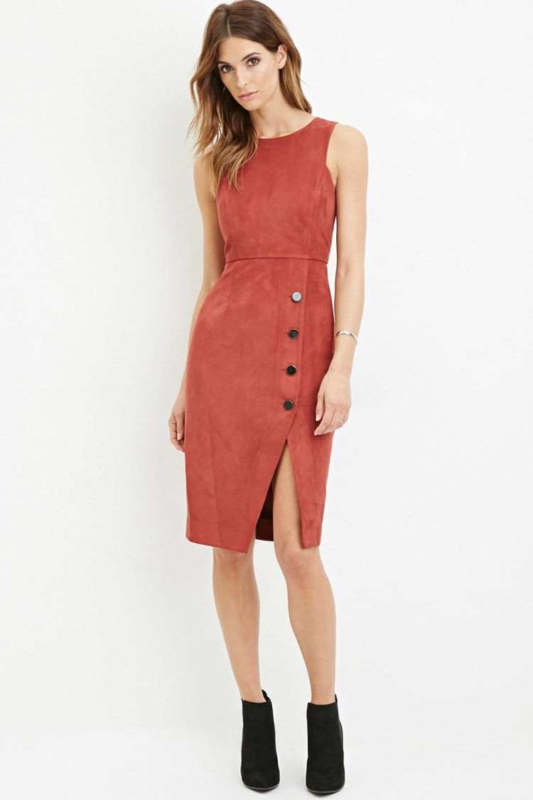 Contemporary faux suede sheath dress style inspirations