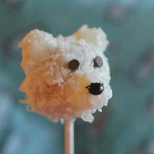 A Teddy Bear cake pop with coconut for the fur! polar bear cake pop