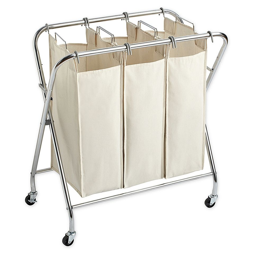 Real Simple X Frame Triple Laundry Sorter In Chrome Laundry
